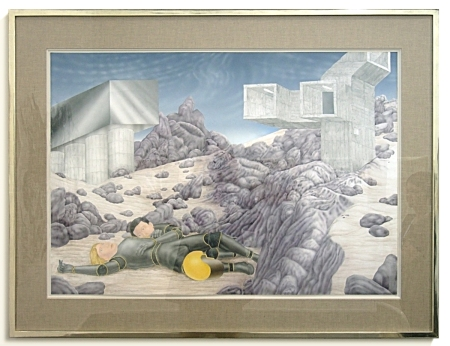 The Vaporization of the American Middle Class, Airbrush on Cardboard, 2006, Torsten Slama