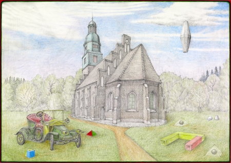 Dionysian Cult Centre with 1911 Renault 2-Seater  (297 × 420mm, pencil, coloured pencil, acrylics on paper, © 2013 by the Tellurian Society and Manfred Gorre)