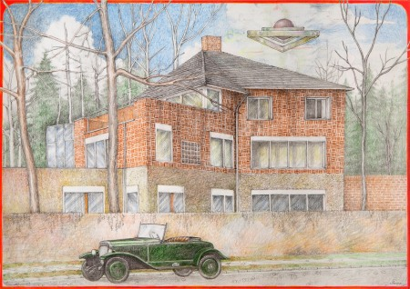 Haus Ziegler, Lepsiusstr 112, Berlin-Steglitz, with 1936 Opel Olympia, Architect Hugo Häring, 1936, this drawing ©2017 by Torsten Slama