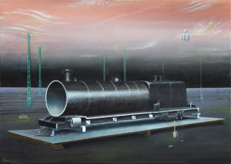 Oil painting resembling surrealist inspired propaganda material for the hobby of (model) railroading. All art and comments by Torsten Slama and the Aristocratic Toy Engine Society.