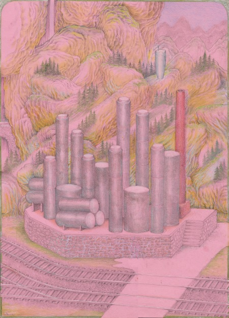 Coal Liquefaction Plant with cyclopean Landscape, drawing by Torsten Slama